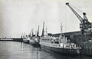 Admiralty Pier - with cross- Channel ferries berthed alongside. The Reine Astrid is at the front circa 1960s. Dover Harbour Board.