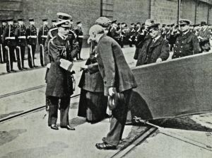 Edward VII shaking hands with Harbour Master John Iron Admiralty Pier March 1910 before leaving for Biarritz. David Iron Collection