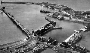 Western part of the harbour circa 1950 but showing the harbour as it would have been during the interwar period. Nick Catford