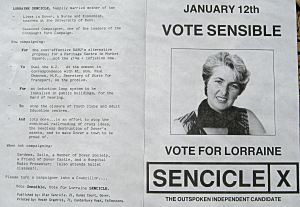 Lorraine Sencicle's Election manifesto for Pineham Ward in DCC election 12 January 1988