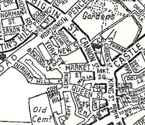 Map showing York Street, Princes Street & Queen Street area before the building of the York Street by-pass