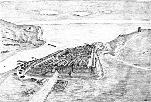 Stylised drawing showing the Classis Britannica, the pharos on the eastern and western heights and the Roman harbour. Dover Museum