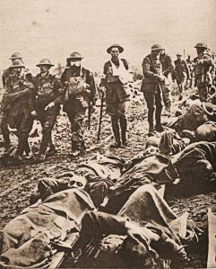 The injured walking and lying along the Menin Road following the Battle of 20-25 September 1917. Doyle Collection