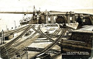 Admiralty Pier - the laying of track to the new Marine Station. Dover Museum