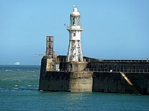 The Grade II listed Admiralty Pier light house and traffic control. AS 2015