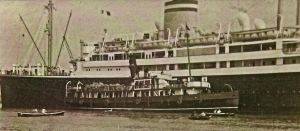 Hamburg -America Liner Patria with tender Lady Saville late 1930s. David Ryeland