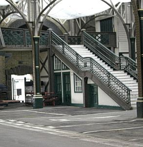 Former Marine Station now Cruise Terminal I former passenger stairs to the platform the railway lines have been covered with tarmac to create parking spaces. LS 2010