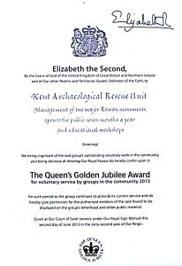 Queen Elizabeth II Golden Jubilee Award 2013 to the Roman Painted House. Brian Philp of the Kent Archaeological Rescue Unit