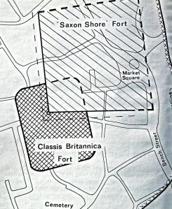 Schematic Map c1974 of the location of the Classis Britannica and the Roman Shore Fort. St Martin's cemetery is shown at the bottom. KARU