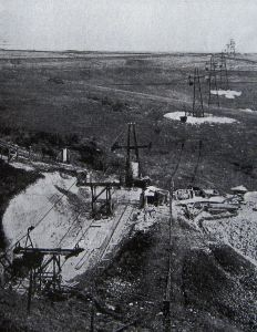Aerial Ropeway showing trestles crossing the countryside. Railway Gazette January 1931