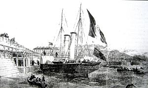 Vivid II landing the King of Sardinia in 1855. Illustrated London News