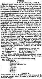 Change in Passports Notice 21.04.1858