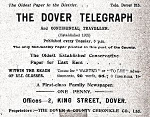 Dover Telegraph established in 1833 - 2 King Street 1919 advert