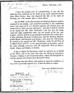 Letter from Fector Bank signed by George Jarvis announcing the death of John Minet Fector dated 15 June 1821