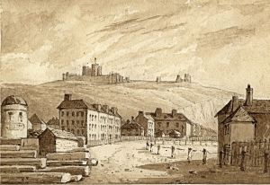 Liverpool Street with Shipdem's Round House on left 1840. Dover Museum