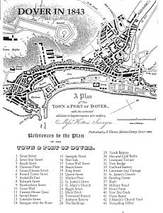 Map of Dover 1843 showing St James Street and other places emntined in the story - Dover Libary