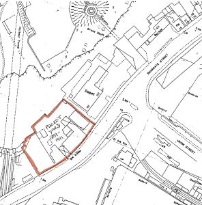 Location of Churchward's Packet Yard, Snargate Street 1859 map c 1900
