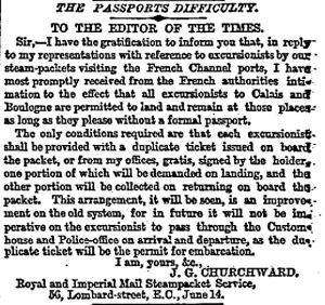 Verification from the French regarding passports from Joseph Churchward 15.06.1858
