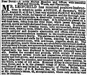 Advert for the sale of Kearsney Abbey August 1850