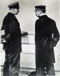 Dover Harbour Master, Captain John Iron (right) talking to Kaiser Wilhelm II on the König Albert 15.12.1903. David Iron Collection