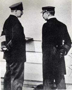 Dover Harbour Master, Captain John Iron (right) talking to Kaiser Wilhelm II on the König Albert 15.12.1903. David Iron Collection