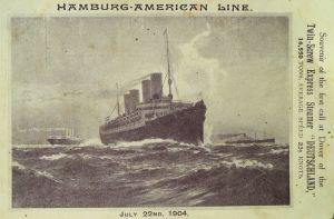 Deutschland souvenir postcard of her first arrival at Dover on 22 July 1904. David Iron Collection