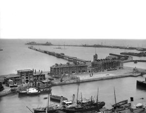 Dover Harbour 14 July 1903 - Prince of Wales Pier to the right, Admiralty Pier left Wellington Dock near the camara with Waterloo Crescent and Esplanade. Nick Catford