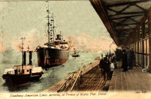 Hamburg-Amerika Line ship arriving at the Prince of Wales Pier. John Alsop