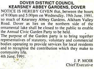 Kearsney Abbey DDC Garden Party advert June 1991
