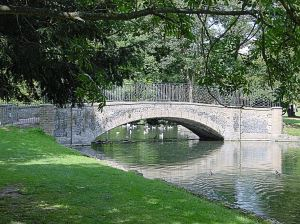 Kearsney Abbey Lake and Grade 2 Listed bridge. Alan Sencicle