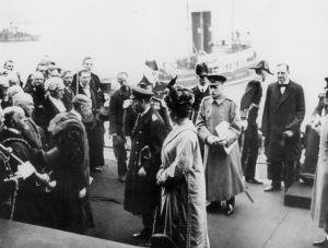 Mayor Edwin Farley greeting King George V and Queen Mary on the Prince of Wales Pier. Clare Farley