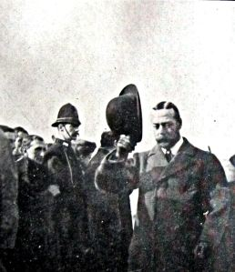 Prince of Wales later George V on 15 October 1908 on the Prince of Wales Pier following the official opening of the Admiralty Harbour. Dover Library