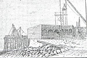 Prince of Wales Pier at the start of construction showing the lattice work. Dover Express July 1893