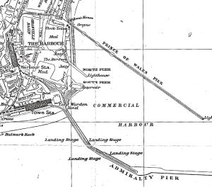 Map of the Western Docks showing the Prince of Wales Pier, Admiralty Pier, the docks and the SECR railway line from Harbour Station to Prince of Wales Pier c1900