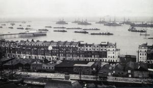 Warships in the harbour c1914 Promenade Pier left, Waterloo Crescent centre. Evelyn Robinson Collection