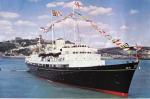 The Royal Yacht Britannia in 1979 arriving for the Installation of Queen Elizabeth the Queen Mother as the Lord Warden of the Cinque Ports. DHB Archives