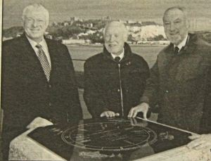The unveiling of the refurbished Sir Clifford Jarrett (1909-1995) memorial - a former Chairman of DHB - on the Prince of Wales Pier, February 2005. Left to right, Bob Goldfield - the Chief Executive of DHB, middle and right - Dover Society's Jeremy Cope and Derek Leach. Dover Mercury