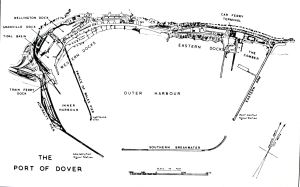 Map of Dover Harbour c1955 showing proximity of the prince of Wales Pier with the Admiralty Pier and Marine Station. David Iron Collection