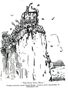 Finding Coal in the Channel Tunnel works - contemporary cartoon c1890. Dover Library