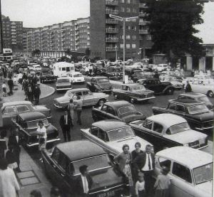 Townwall Street, the main road to Eastern Docks through Dover, gridlocked - 1965. Ray Warner.