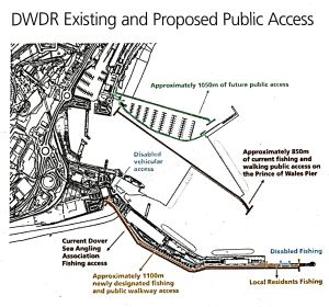 Stylized map showing the significantly wider Prince of Wales Pier with marina, two jetties and a shipping berth on the east side and a second berth alongside the reclaimed Hoverport. Existing public access in black new in colour. DHB 2015