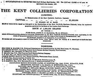 Kent Collieries Corporation prospectus October 1897