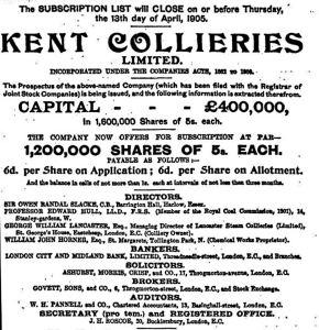 Prospectus for Kent Collieries Ltd April 1905
