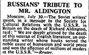 Russians' tribute to Richard Aldington - Reuter 30 July 1962