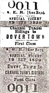 South Eastern Railway Company ticket Dover to Channel Tunnel workings possibly for shareholders or/and media dated 19 September 1895. Nick Catford