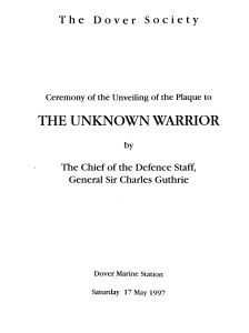 Unknown Warrior - Unveiling of the Dover Society Plaque programme at Marine Station 17.05.1997. David Iron Collection