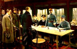 Signing of the Armistice Treaty to end World War I - November 11 1918. Wikimedia Commons