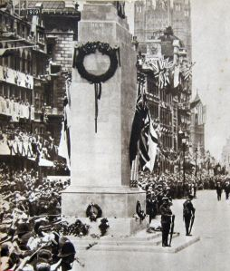 World War I Victory Parade 19 July 1919 the Cenotaph was a temporary structure for the occasion. Evelyn Larder Collection