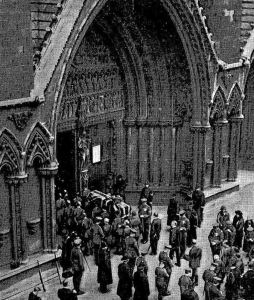The Unknown Warrior's coffin being taken into Westminster Abbey 11 November 1920. Times