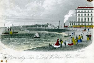 Admiralty Pier with a London, Chatham and Dover Railway Company train and packet ship in the Bay. South Eastern Railway's Lord Warden Hotel is on the right. Dover Museum